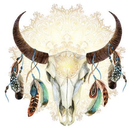 watercolor buffalo skull with feathers on golden mandala background. Animal skull in boho style, hand painted illustration