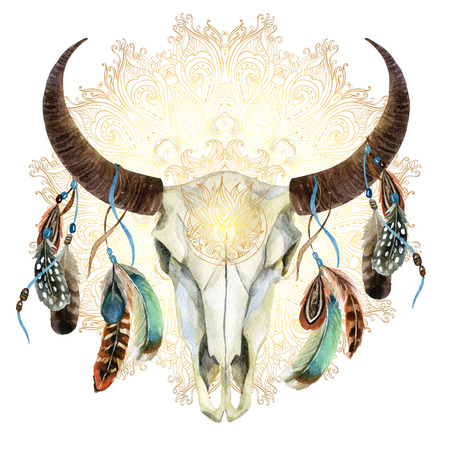 watercolor buffalo skull with feathers on golden mandala background. Animal skull in boho style, hand painted illustration