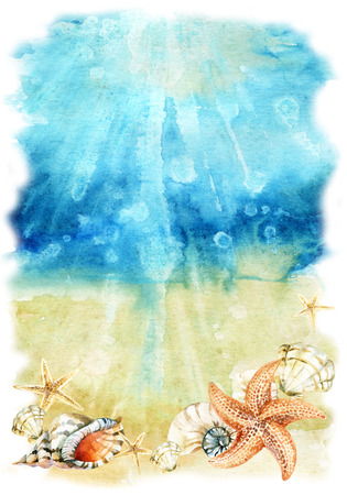 mollusc: Watercolor sea bottom illustration with sea shells and starfishes. Seabed with waves and foam. Hand painted background Stock Photo