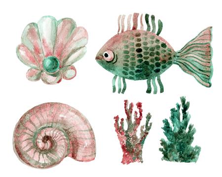 Watercolor marine set - shells, coral and fish Banco de Imagens - 71658313