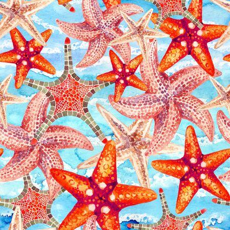 Estrellas de mar acuarela en mar agitó el fondo. Ilustración pintada a mano para el diseño marino. Diseño de mar y océano Foto de archivo - 71658324