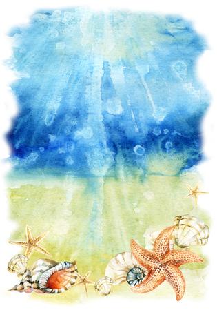 海の貝やヒトデと水彩画海底イラスト。泡波と海底。手描きの背景 写真素材