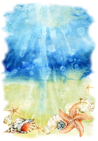 Watercolor sea bottom illustration with sea shells and starfishes. Seabed with waves and foam. Hand painted background Stock Photo