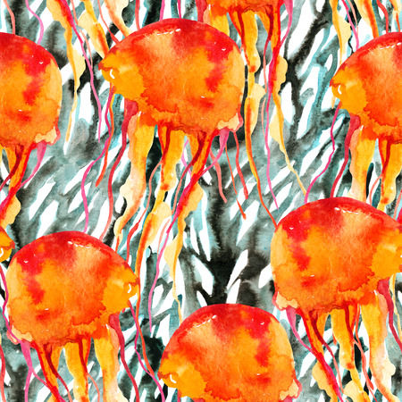 Colorful jellyfish on coral reef background. Watercolor hand painted illustration in vivid colors