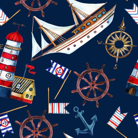 castaway: Nautical seamless pattern. Hand painted watercolor illustrations Stock Photo