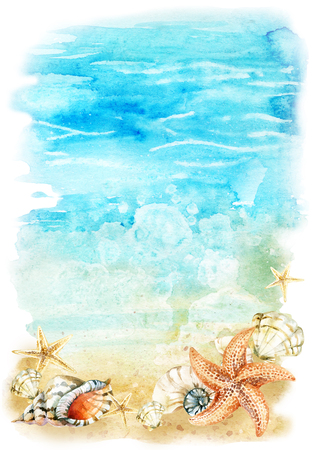 mollusc: Watercolor beach illustration with sea shells and starfishes. Seashore with waves and foam. Hand painted background Stock Photo