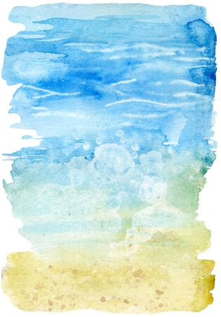 Watercolor beach illustration. Seashore with waves and foam. Hand painted background