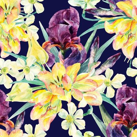 Watercolor irises, tulips, daffodils and leaves seamless pattern. Watercolor spring flower. Floral arrangement on navy blue background. Hand painted garden illustration