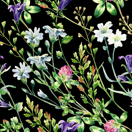 Watercolor wild flowers seamless pattern. Bell flower, clover, weeds and meadow herbs. Watercolor wild field background. Hand painted floral illustration