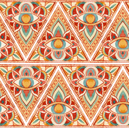 Watercolor all seeing eye symbol in pyramid seamless pattern. Ornate geometrical sacred background. Vintage hand painted All Seeing-Eye in natural colors on white background