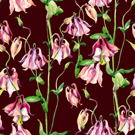 sepals: Watercolor meadow bellflowers seamless pattern. Watercolor wild columbine flowers on brown background. Hand painted illustration Stock Photo