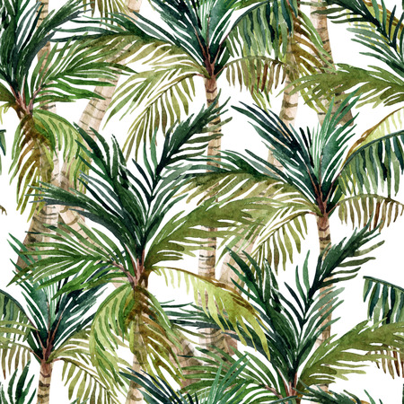 Watercolor palm tree seamless pattern. Tropical palm background. Hand painted illustration