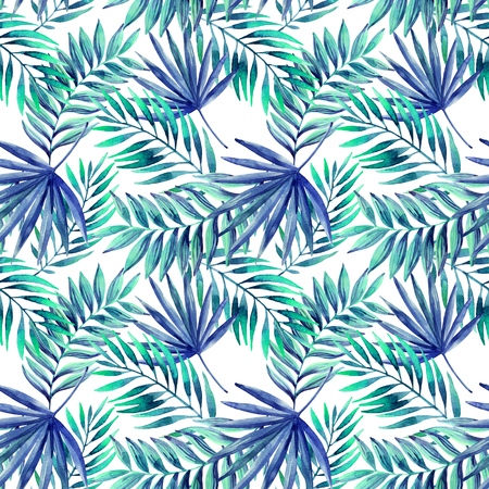 petticoat: Watercolor tropical leaves seamless pattern. Jungle leaves on white background. Hand painted illustration Stock Photo