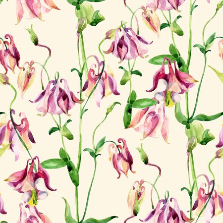 sepals: Watercolor meadow bellflowers seamless pattern. Watercolor wild columbine flowers on pastel background. Hand painted illustration