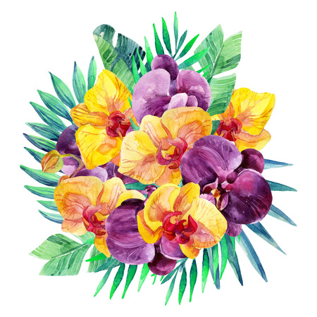 palm wreath: Watercolor Orchid flowers arrangement. Orchid bloomings and tropical palm leaves card. Exotic flowers and jungle leaves. Hand painted watercolor illustration Stock Photo