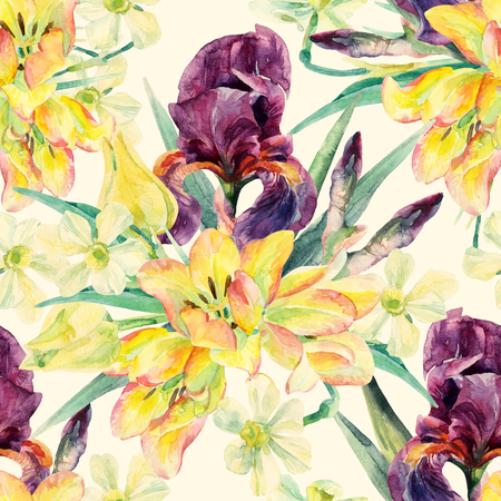 floral arrangement: Watercolor irises, tulips, daffodils and leaves seamless pattern. Watercolor spring flower. Floral arrangement on pastel colored background. Hand painted garden illustration