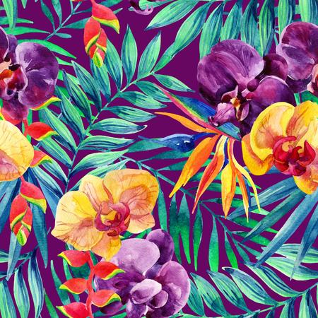 Hojas tropicales acuarela y flores sin patrón. Ilustración pintada a mano para el fondo del diseño floral. Foto de archivo - 71661658
