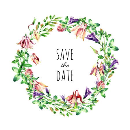 sepals: Watercolor meadow bell flowers wreath. Watercolor wild columbine and bell flowers arrangement on white background. Hand painted illustration for Save the Date design Stock Photo