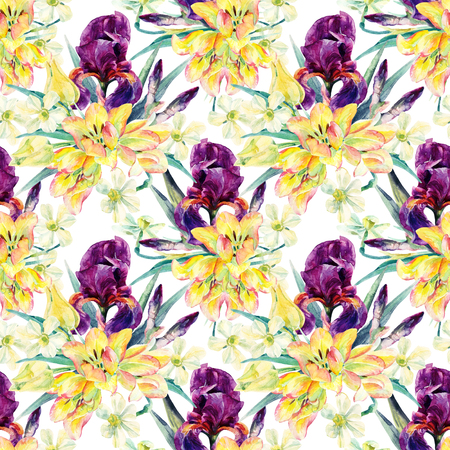 floral arrangement: Watercolor irises, tulips, daffodils and leaves seamless pattern. Watercolor spring flower. Floral arrangement on white background. Hand painted garden illustration