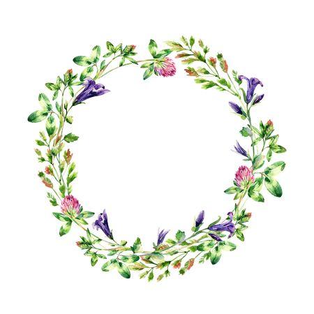 水彩の野生の花の花輪。ベルの花、クローバー、雑草、牧草地のハーブ。水彩野生フィールド花輪。手描きの花のイラスト