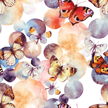 Abstract watercolor circles and butterfly. Bubbles and butterflies seamless pattern in pastel colors. Hand painted illustration in retro style for your design Stock Photo