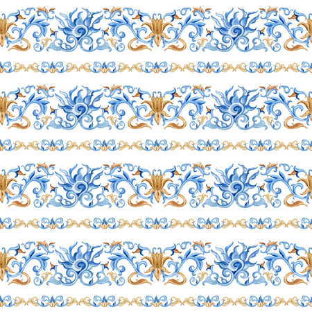 Chinese seamless pattern. Hand painted illustrations on white background Stock Photo