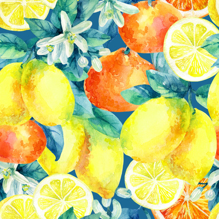 Watercolor mandarine orange and lemon fruit with leaves and blossom seamless pattern. Orange, lemon citrus tree background. Tangerine, lemon, leaf, flower in retro style. Hand painted illustration