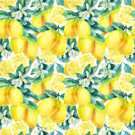 Watercolor lemon fruit branch with leaves seamless pattern on white background. Lemon citrus tree. Lemon branch and slices. Lemon branch with leaves. Hand painted illustration 版權商用圖片 - 73394204