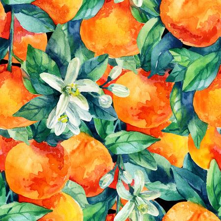 tree: Watercolor mandarine orange fruit with leaves and blossom seamless pattern on black background. Orange citrus tree. Mandarin bloom. Tangerine, leaf, flower in retro style. Hand painted illustration