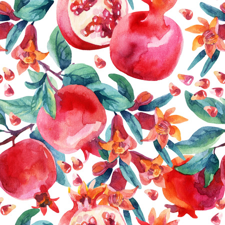 Watercolor pomegranate bloom branches and fruit seamless pattern. Pomegranate fruit, berries and flower on white background. Hand painted illustration Imagens