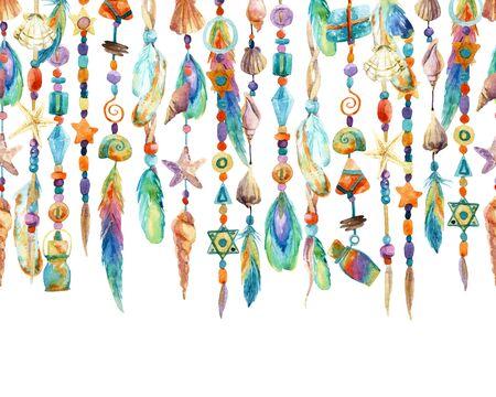 貝殻、ビーズ、羽と水彩のジュエリー。手描きの貝殻とビーズの宝石類のイラスト 写真素材 - 73394212