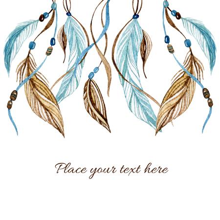 民族の羽で水彩のカード。手描きイラストのネイティブなスタイルで。 写真素材