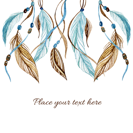 Watercolor card with ethnic feathers. Hand painted illustration in native style. Stok Fotoğraf