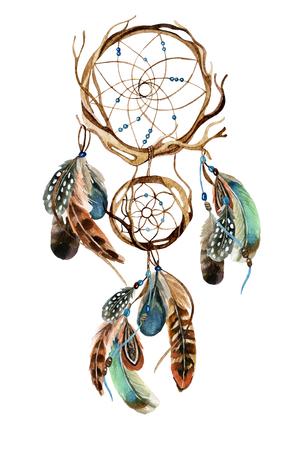 Dreamcatcher con plumas. Acuarela dreamcatcher étnico. Ilustración pintada a mano para su diseño Foto de archivo - 73394197