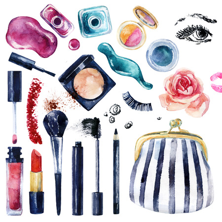 Watercolor beauty collection for make up. Essential makeup must-haves. Cosmetics set isolated on white. Beauty product background. Hand painted illustration for fashionable design. Banco de Imagens - 73394358