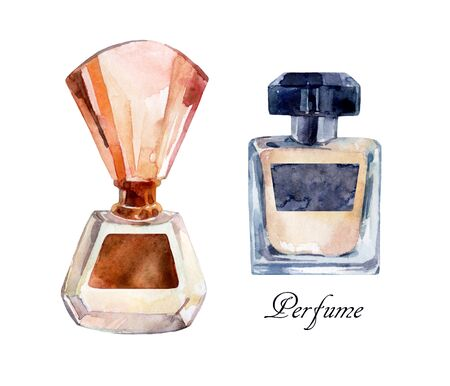 perfume atomizer: Perfume watercolor illustration. Watercolor classical bottle of perfume. Collection of perfume bottles. Hand painted perfume in classical style.