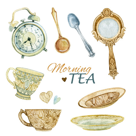 Watercolor tea set: cups, spoons, mirror and alarm clock. Tea crockery in victorian style. Hand painted  illustration for your design Stock Photo