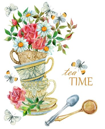 Watercolor tea cups background with spoon, flowers and butterfly. Tea crockery in victorian style. Hand painted  illustration for your design