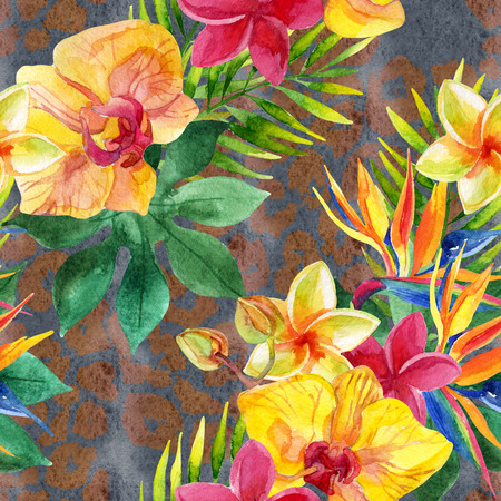 Tropical watercolor flowers, leaves on animal print. Colorful exotic flowers on animal skin texture. Tropic seamless pattern on pelt background. Hand painted watercolor illustration for summer design