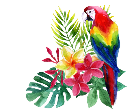 Watercolor parrot with exotic flowers and leaves  Banque d'images