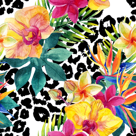 Tropical watercolor flowers and leaves on animal print. Colorful exotic flowers on animal skin texture. Tropic seamless pattern. Hand painted watercolor illustration