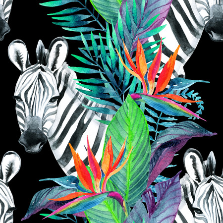 Zebra and exotic flowers. Watercolor jungle seamless pattern. Hand painted illustration with zebra on white background for your design. Banque d'images