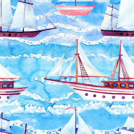 Watercolor sailing ships seamless pattern on blue waved background. Hand painted marine transport illustration. Travel cruise pattern with white sailing yacht in row Stock Photo