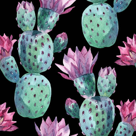 Watercolor seamless prickly pear pattern