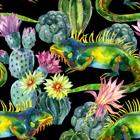 Watercolor seamless pattern with cactuses and lizards