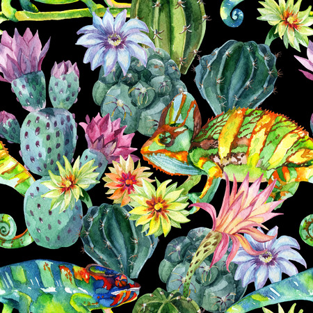 Watercolor seamless pattern with cactuses and chameleons Stock Photo