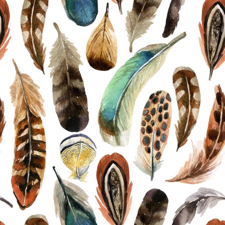 Fond de plume coloré aquarelle, illustration dessinée à la main Banque d'images - 75136359