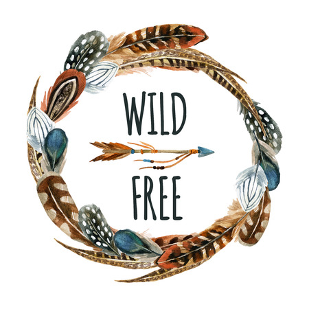 鳥の羽や白い背景で隔離の矢印と水彩の花輪。野生および自由設計。手描きのトレンディな自由奔放に生きるスタイルの要素。