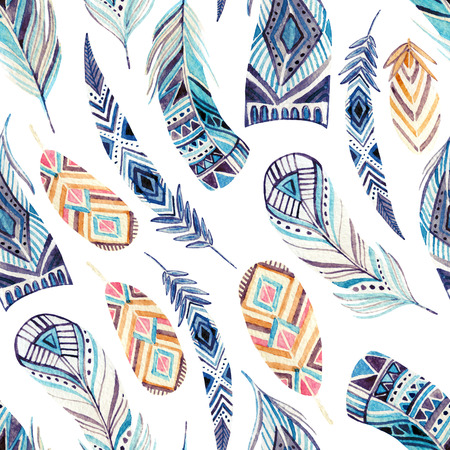 Watercolor ethnic feathers seamless pattern. Abstract ornated feathers with geometrical pattern on white background. Hand painted illustration for boho, tribal design