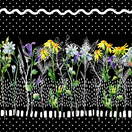 weeds: Meadow watercolor and ink flower seamless pattern. Water color and graphic bellflower, daisy, weed and herb on background with polka dot, scrabble, strokes. Hand painted illustration in 80s 90s style